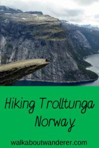 My hike of Trolltunga in Norway by Walkabout Wanderer Keywords: Walking, adventure, Trolls tongue, Norway, Travel blogger, backpacker