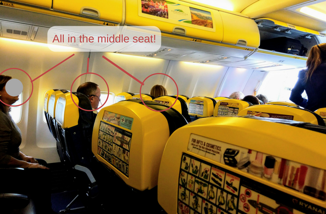 Ryanair puts people in middle seat scam