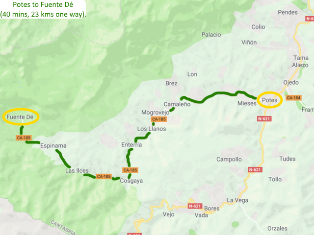 Potes to Fuente Dé then up in the cable car Picos de Europa Spain Driving route Motorhome Camper van