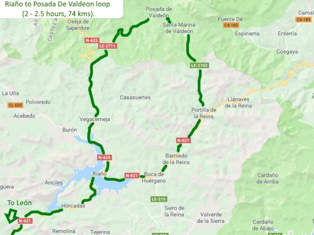 Leon Riaño Posada De Valdeon loop Picos de Europa Spain Driving route Motorhome Camper van