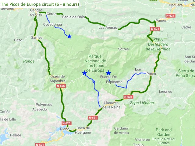 The Picos de Europa circuit Spain Driving route Motorhome Camper van