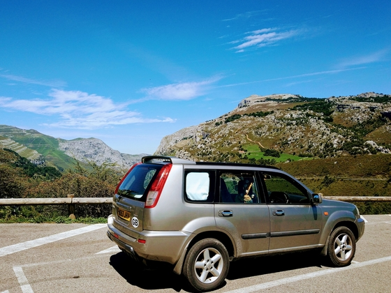 living sleeping travelling by car north spain